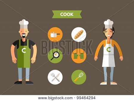 Flat Design Vector Illustration Of Cook With Icon Set. Infographic Design Elements