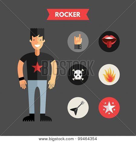 Flat Design Vector Illustration Of Rocker With Icon Set. Infographic Design Elements