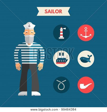 Flat Design Vector Illustration Of Sailor With Icon Set. Infographic Design Elements