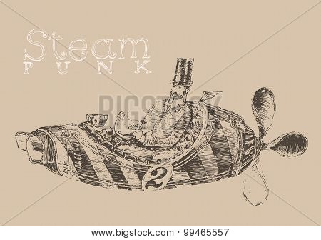 steam punk aircraft airship engraving style, hand drawn