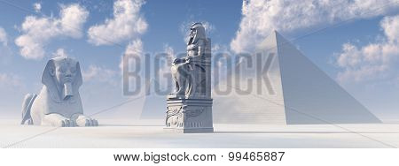 Egyptian sphinx, statue and pyramids