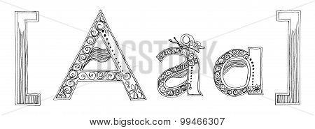 A Parenthesis And Bracket Symbol Venda Freehand Pencil Sketch Font