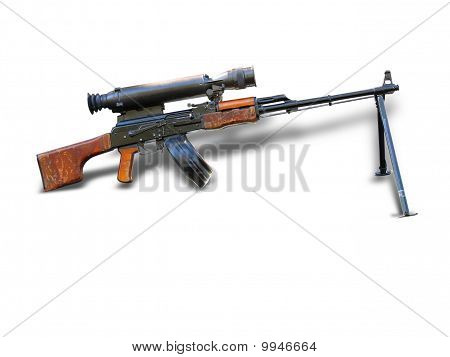Russian Sniper Rifle With Scope Isolated Over White