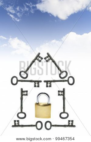 Clouds With Keys And Padlock