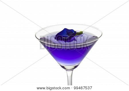 Butterfly Pea Flower Juice In Cocktail Glass