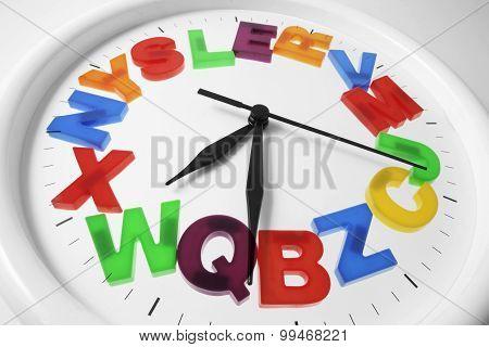 Plastic Alphabets On Wall Clock