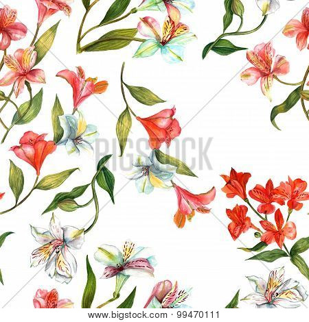 Seamless watercolor flowers (alstroemerias) background pattern