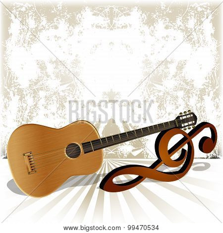 Acoustic Guitar Rests On The Treble Clef