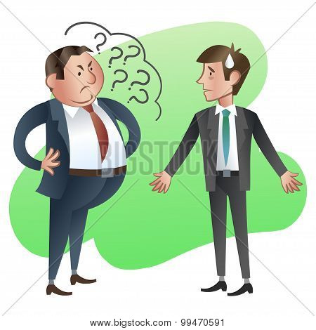 Boss Or Manager Asks A Subordinate Employee. Vector Illustration.