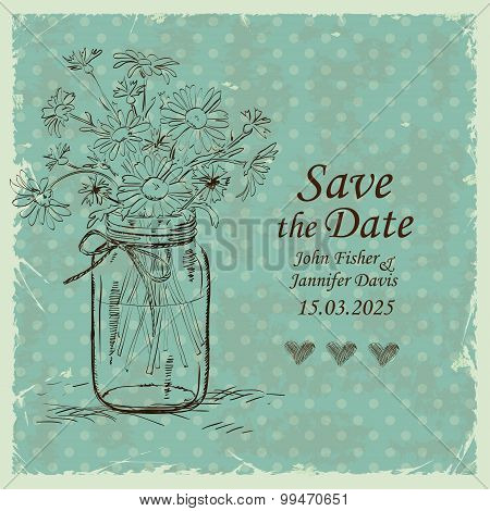 Wedding Invitation With Mason Jar And Camomile Flowers.