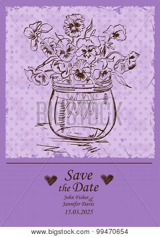 Wedding Invitation With Mason Jar And Pansy Flowers.