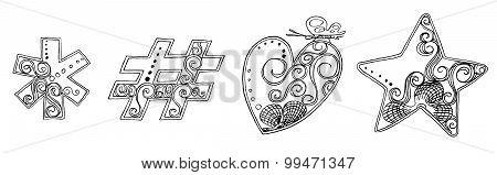 Symbol Heart Star Vanda Freehand Pencil Sketch Font