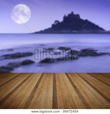 St Michael's Mount Bay Marazion Pre-dawn Long Exposure With Moon With Wooden Planks Floor
