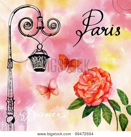 Vintage style postcard with calligraphy, ink lamp post, rose and butterflies