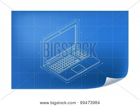 Technical Illustration with laptop drawing