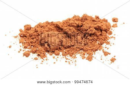 Pile of cacao powder isolated on white