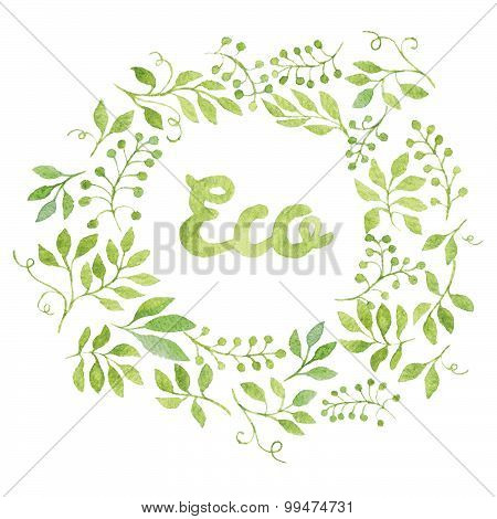 Word Eco in Green Leaves Watercolor Wreath