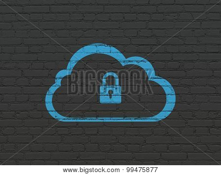 Cloud networking concept: Cloud With Padlock on wall background