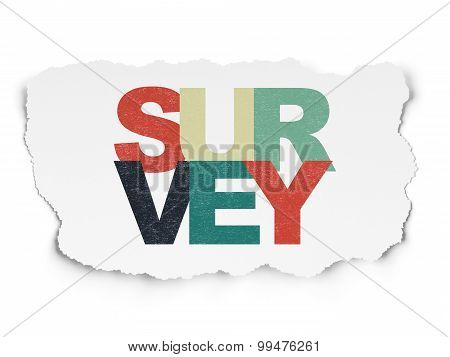 Science concept: Survey on Torn Paper background