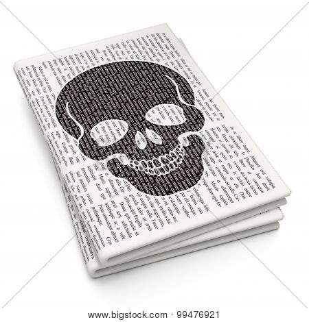 Healthcare concept: Scull on Newspaper background