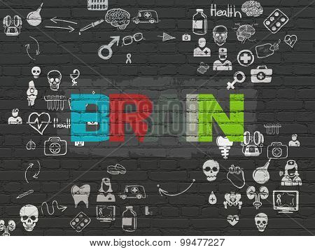 Healthcare concept: Brain on wall background
