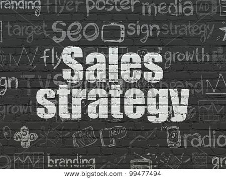 Advertising concept: Sales Strategy on wall background