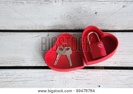 Love Lock In Heart Box Love Concept