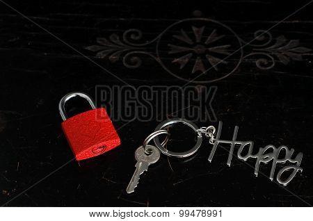 Love lock with Happy key chain