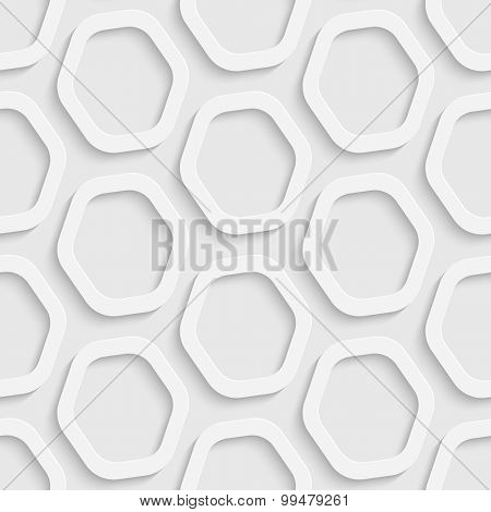 Seamless Hexagon Pattern. Vector Soft Background. Regular White Texture