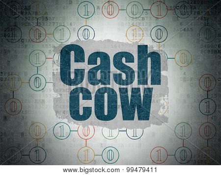 Finance concept: Cash Cow on Digital Paper background