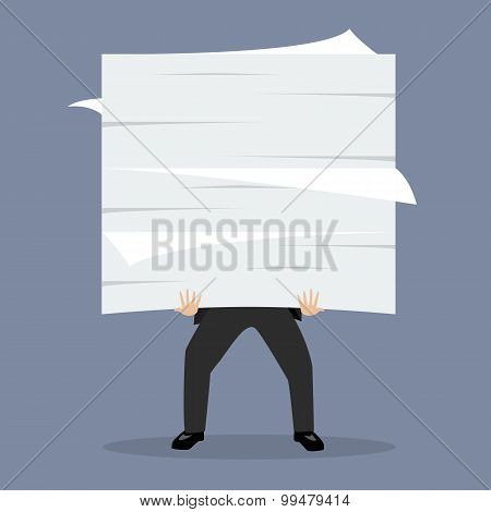 Businessman Holding A Lot Of Documents