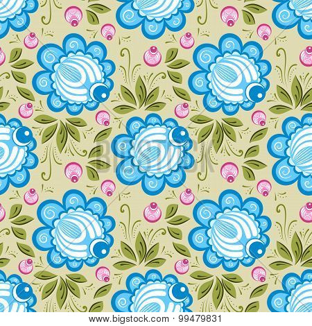 Seamless Russian Floral Pattern