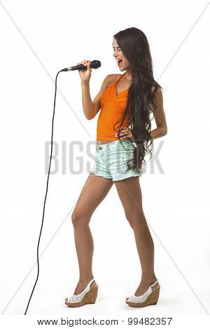 Lovely girl with the microphone.