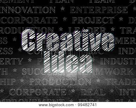 Business concept: Creative Idea in grunge dark room