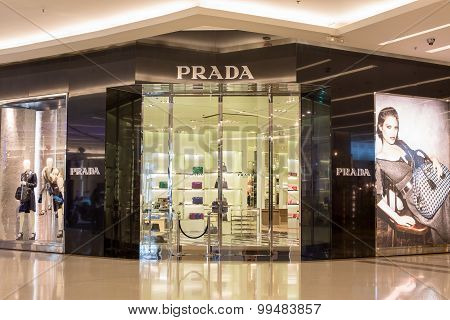 Front View Of Prada Store In Siam Paragon Mall. Bangkok, Thailand