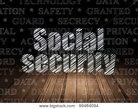 Privacy concept: Social Security in grunge dark room