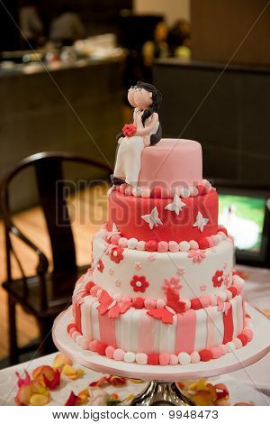 Red pink and white wedding cake Stock photo