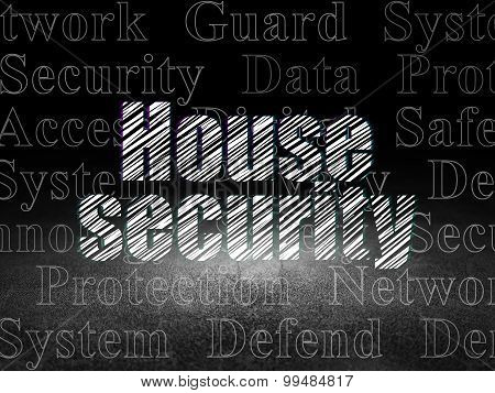 Protection concept: House Security in grunge dark room