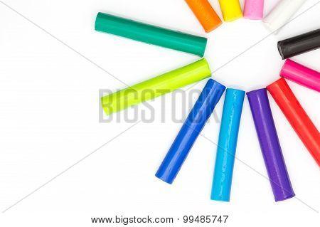 Rainbow colour children's plasticine sticks