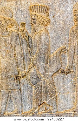 Persian nobleman relief detail Persepolis