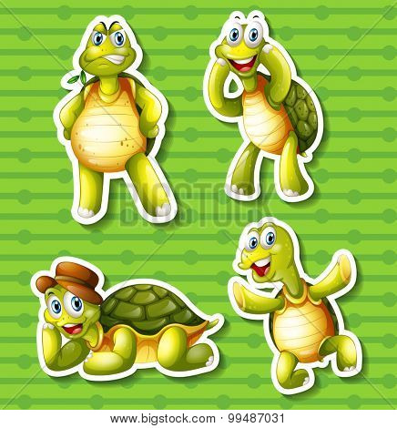 Turtle in four different poses illustration