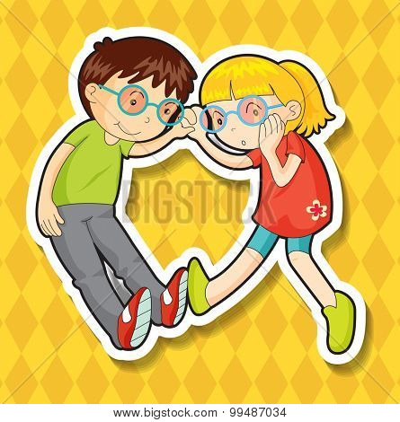 Boy and girl wearing glasses illustration