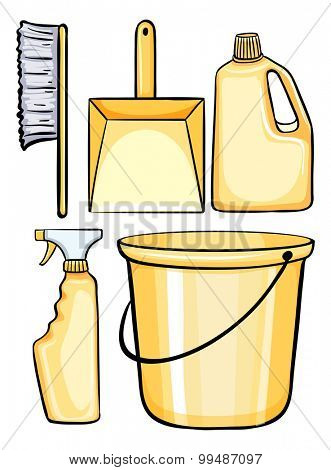 Cleaning equipment in yellow illustration