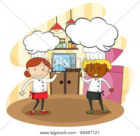 Male and female chef cooking illustration