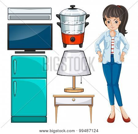 Woman and household equipment illustration