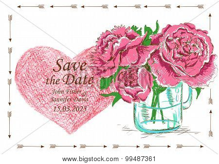 Wedding Invitation With Mason Jar And Peony Flowers