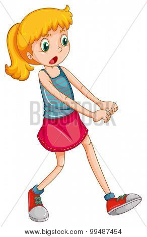 Little girl with blond hair illustration