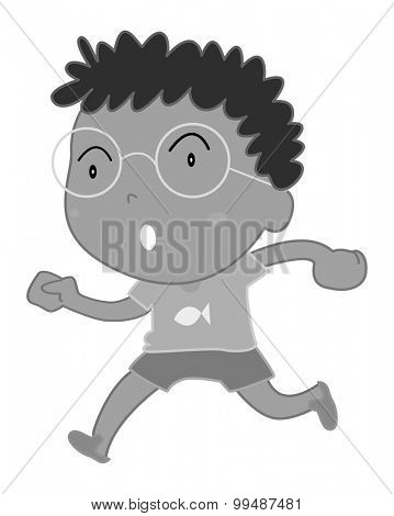 Little boy wearing eyeglasses illustration