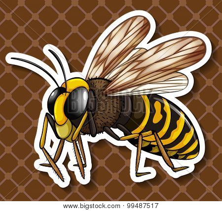 Bee flying on brown background illustration