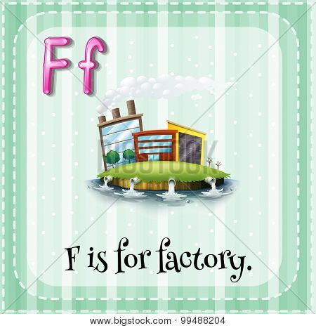 Alphabet F is for factory illustration